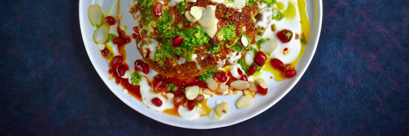 Whole harissa spiced cauliflower