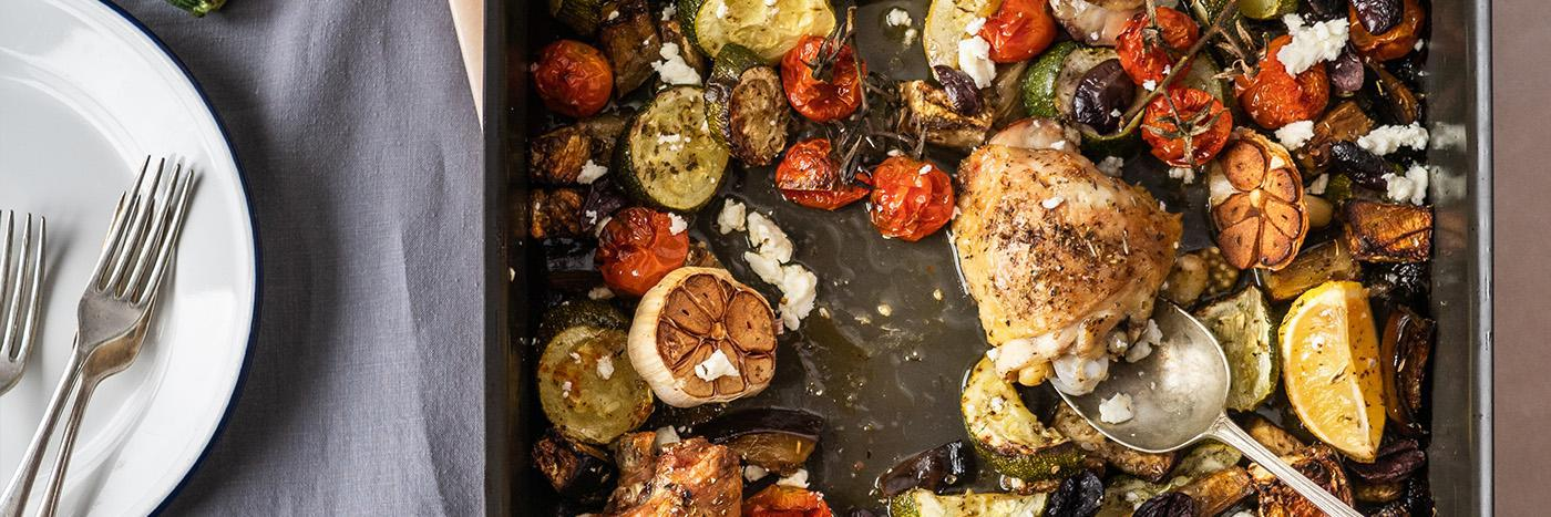 Chicken ratatouille and feta traybake