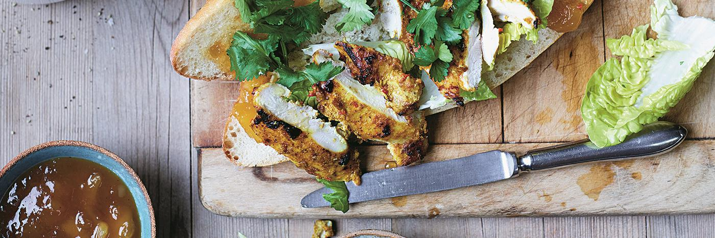 Grilled tandoori chicken with mango chutney