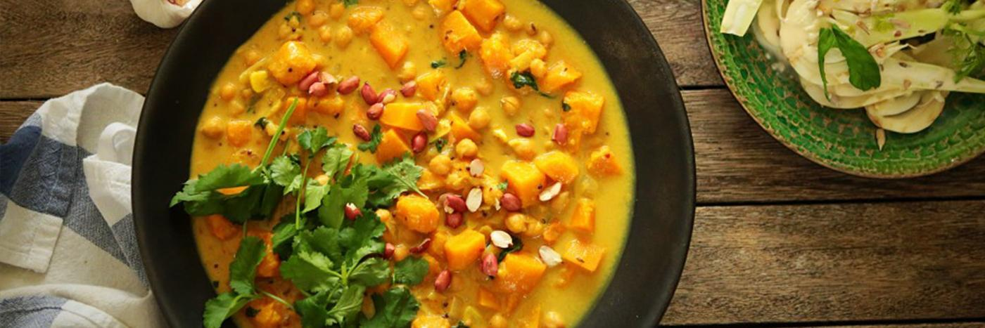 Butternut squash, chickpea & coconut curry
