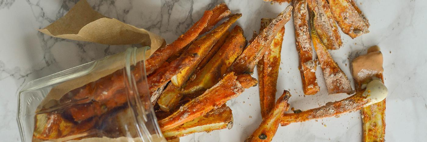 Spicy root veg fries and dips