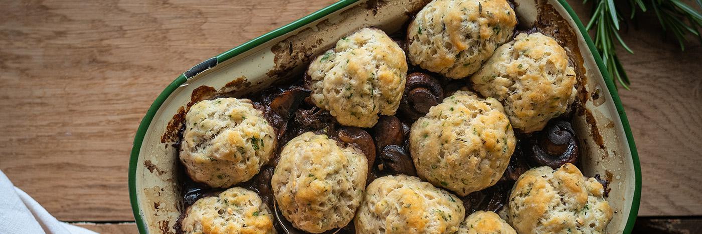 Mushroom and red wine stew with herb dumplings