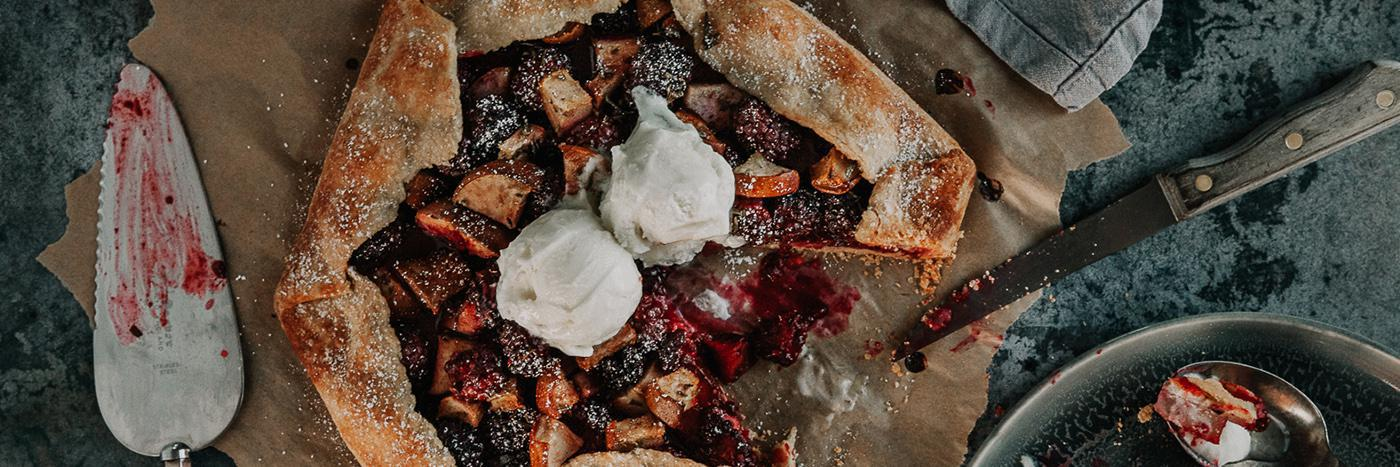 Blackberry and pear galette