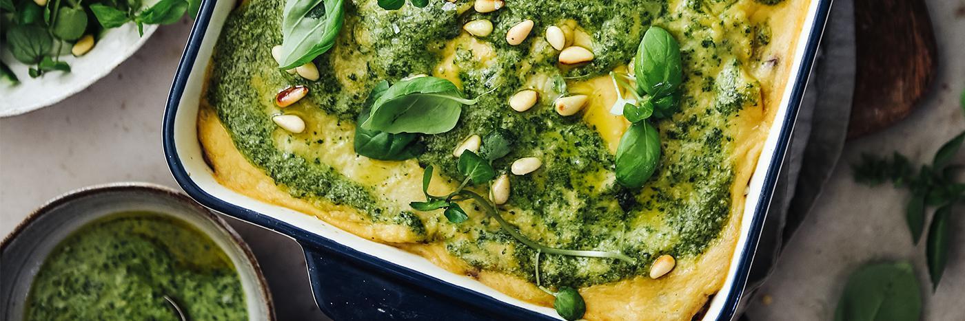 Aubergine and lentil lasagna