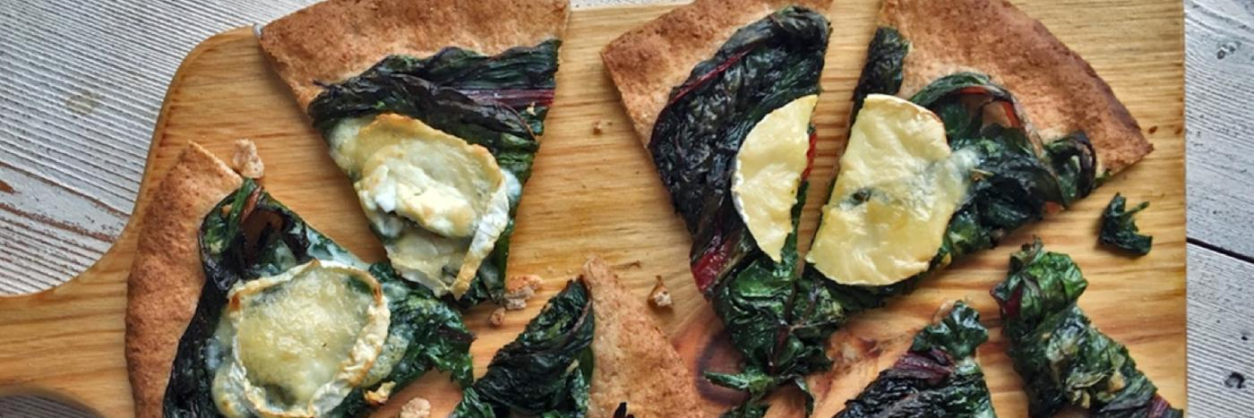 Chard, goat's cheese and spelt pizza