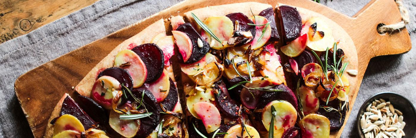 Potato, beetroot & caramelised onion spelt pizza