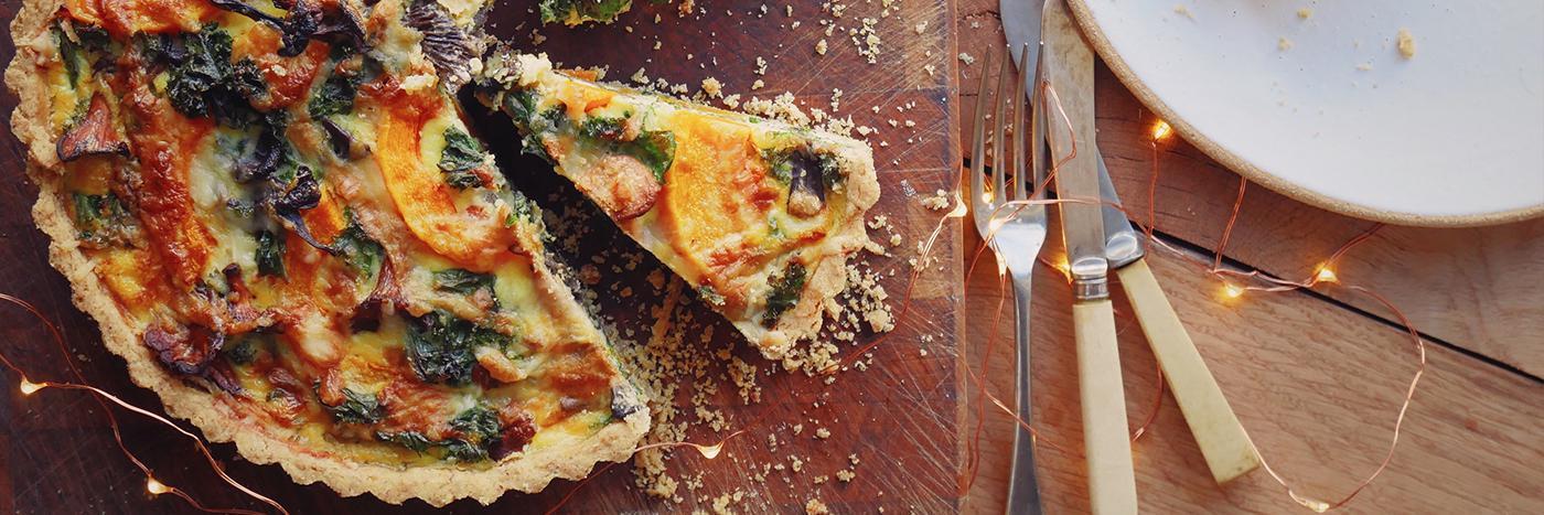 Winter squash, kale and mushroom tart