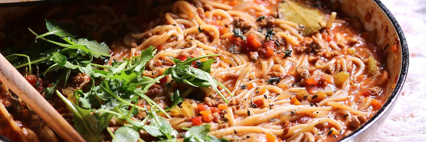Spaghetti with pork bolognese