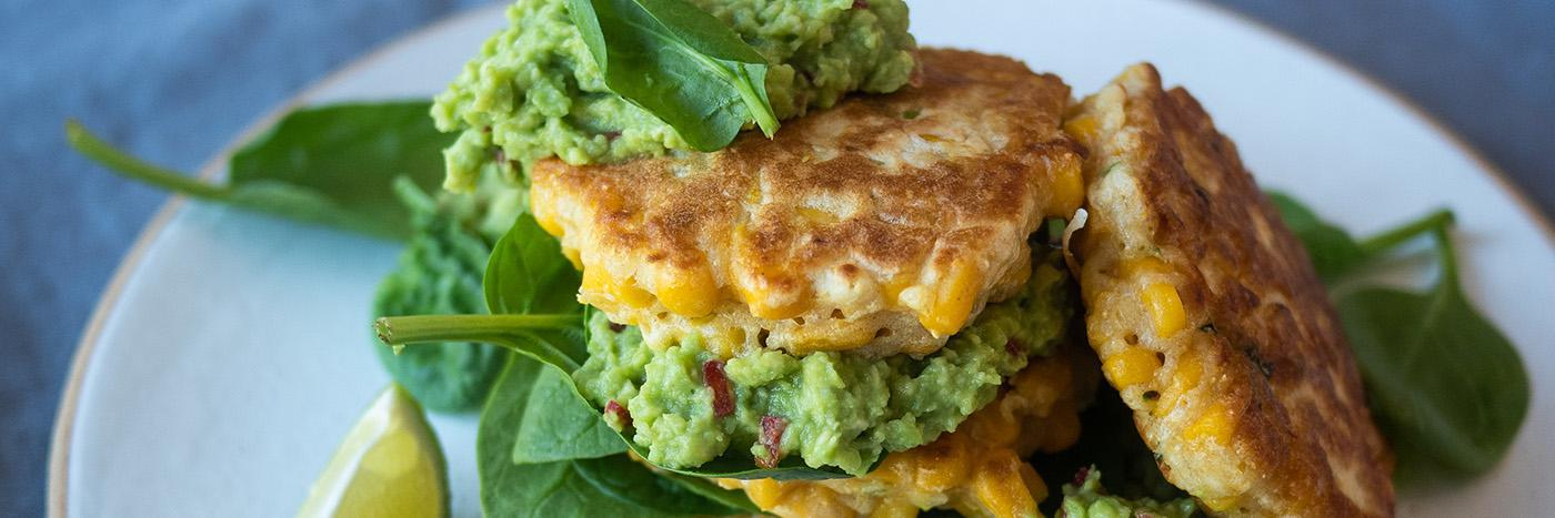 Sweetcorn pancakes with chilli avocado and spinach