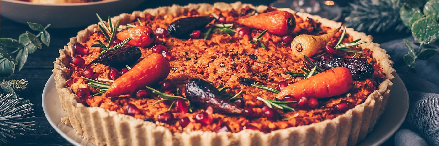 Carrot and lentil tart