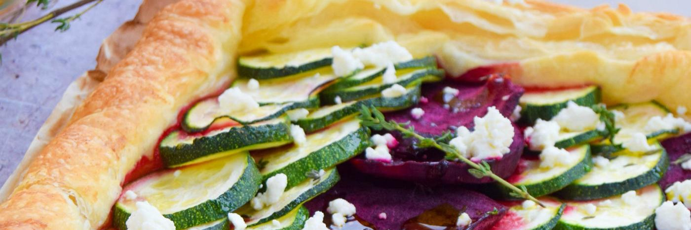 Beetroot, courgette & feta tart