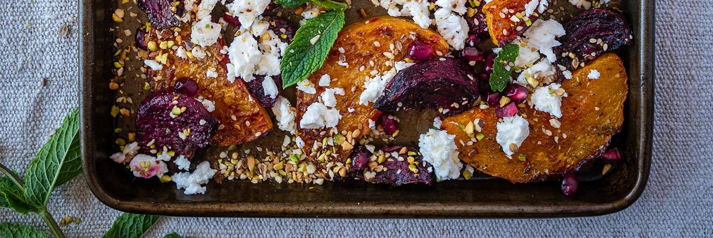 Butternut squash, beetroot, feta and nut crumble traybake